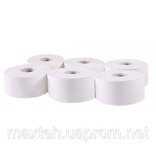 Туалетная бумага в рулоне Джамбо 100% целлюлоза 1410 отрывов 2 слоя