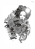 Термонаклейка (Термотрансфер) Лицо девушки с цветами 25х35см