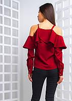 Блузка с открытыми плечами и оборками , фото 1