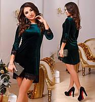 Платье женское велюровое с кружевом норма