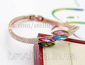 Позолоченный асимметричный браслет с камнями Swarovski бижутерия, фото 2