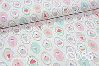 Ткань сатин Кексы и мороженное, фото 1