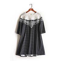Платье туника женская черного цвета  в горошек и с белым  кружевом