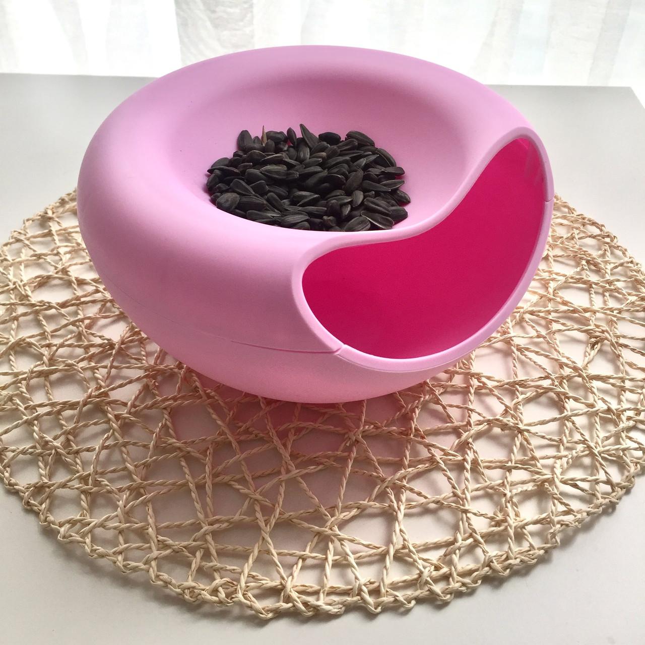 Пластиковая миска для семечек, орехов и снеков (розовый)