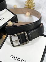 Кожаный ремень Gucci с пряжкой серебро (реплика)