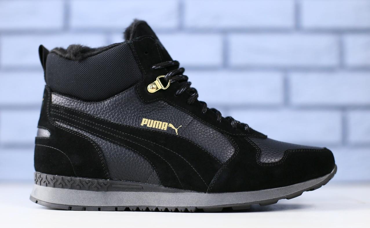 0e57ccd9ad7f Кроссовки зимние мужские в стиле Puma, натуральная кожа+замша, полушерсть  код FS-