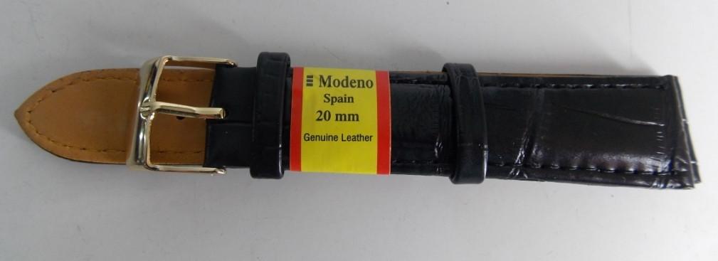 Ремешок кожаный MODENO (ИСПАНИЯ) 20 мм, черный