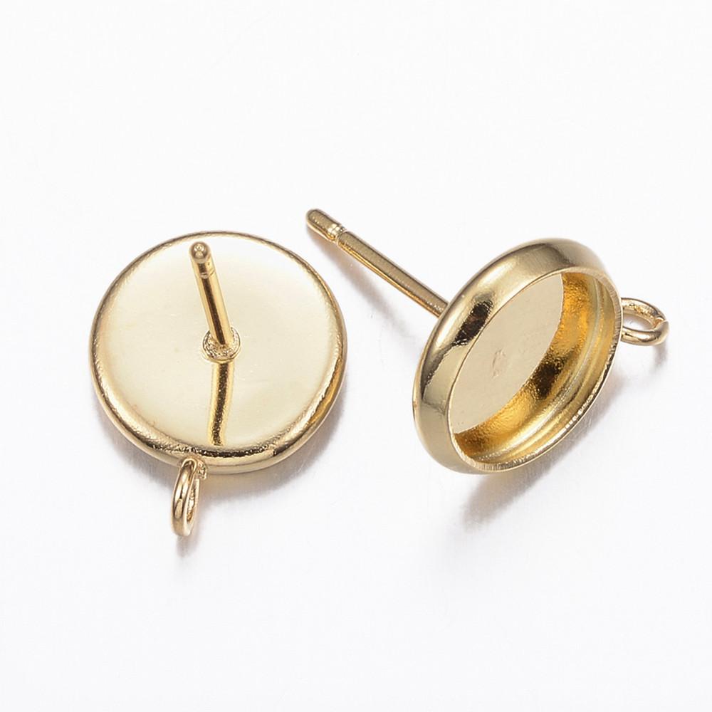 Швензы-гвоздики с основой под кабошон 13мм золото для рукоделия