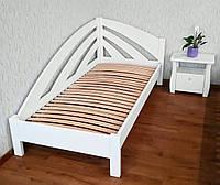 """Белая односпальная кровать из массива натурального дерева """"Радуга"""""""