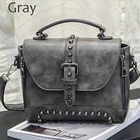 Дизайнерская маленькая женская сумка с заклепками ZMQN серая c89f297205902