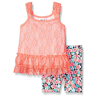 Кружевной красивый детский топ для девочки летний персиковый