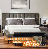 Современная  мягкая кровать 1,6 Наоми (КЗ графит)