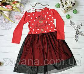 Детское платье с верхней юбкой в расцветках, Турция. МО-20-1218
