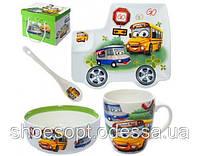 Набор детской посуды подарочный Школьный автобус 4пр