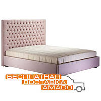 Кровать с высоким изголовьем с п/м 1,6 Олимпия (беж роз) (соло вельвет 1090)