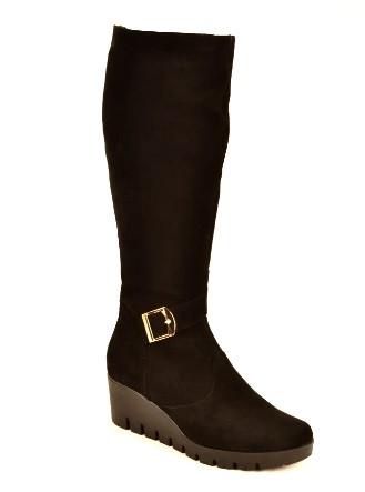 Сапоги женские зимние на танкетке натуральная замша черный 144008. Женская обувь