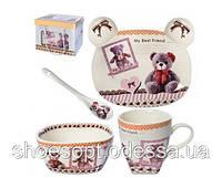 Набор детской посуды подарочный Мишки 4пр