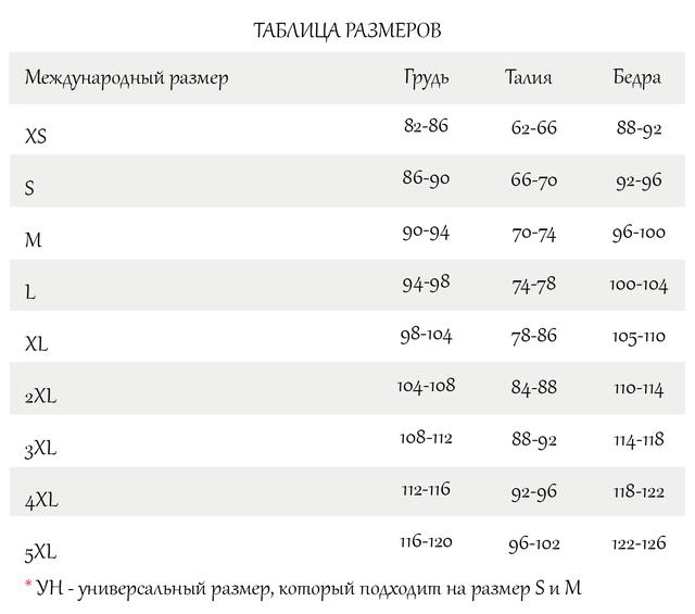 Женская размерная таблица