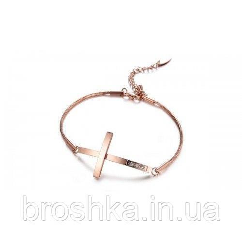 Стальной браслет цепочка с крестом ювелирная бижутерия