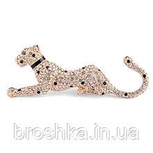 Позолоченная брошь кошка с камнями ювелирная бижутерия