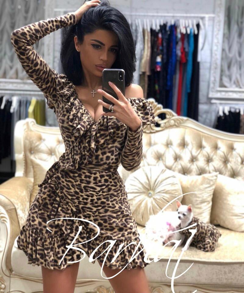 b8cfe570d7d Женское леопардовое мини-платье на запах - купить по лучшей цене в ...