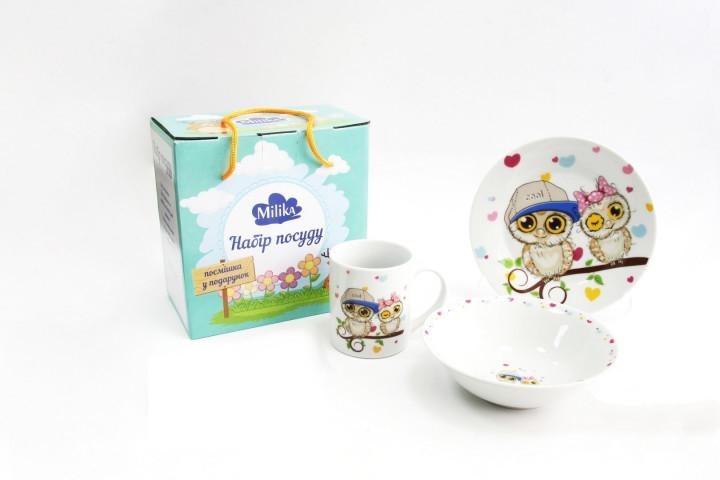 Детский набор столовой посуды Milika Owlet 3пр - M0690-TH5792