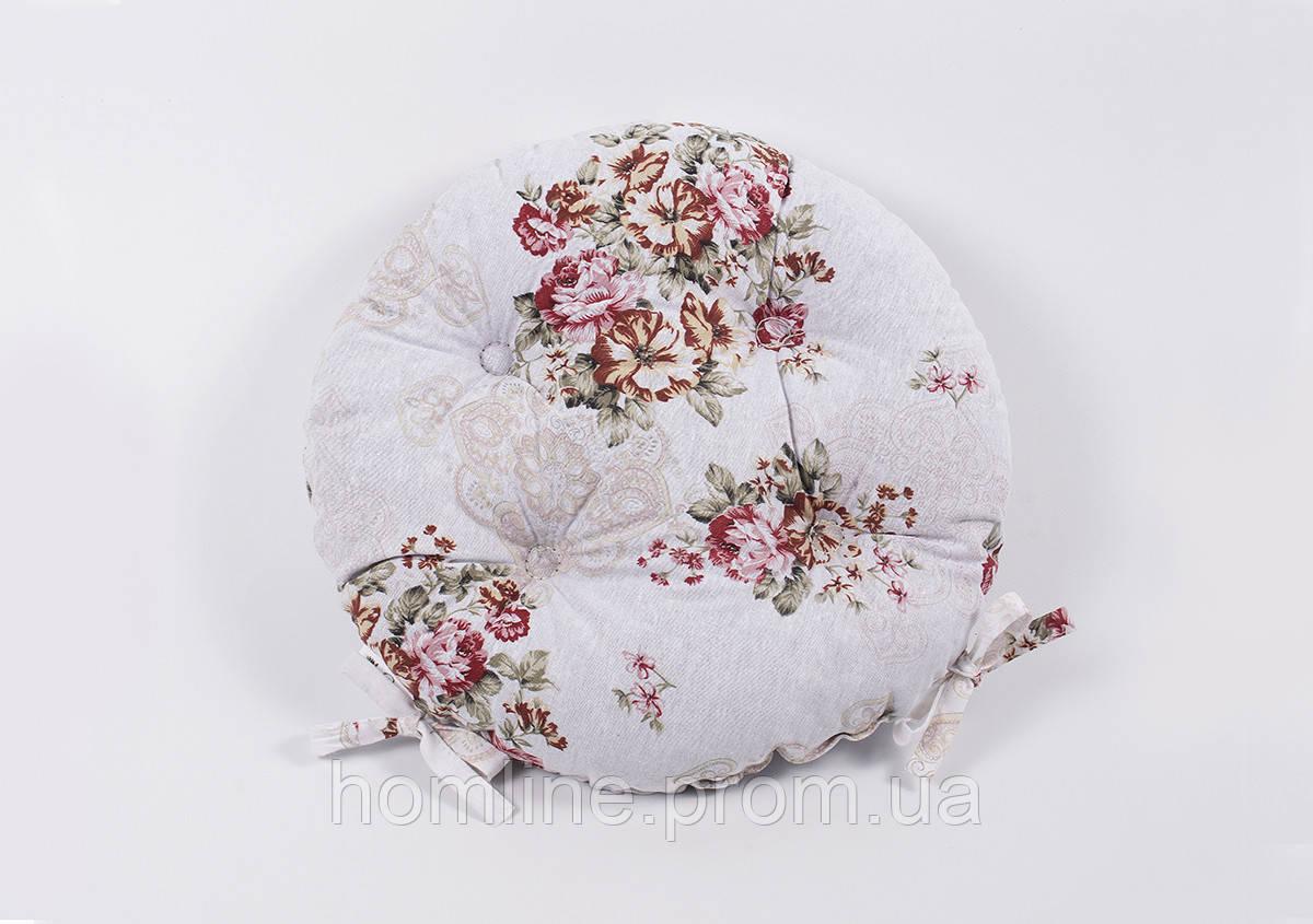 Подушка на стілець Lotus кругла Ø 40 Simona кава із зав'язками