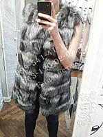 Меховые жилеты из чернобурки 80см