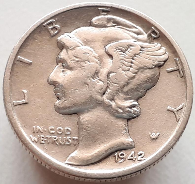 США 10 центов 1942 Серебро