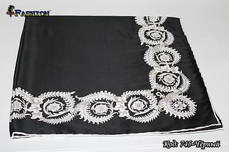 Платок чёрный атлас-масло Завиток, фото 2