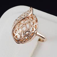 Обаятельное кольцо с кристаллами Swarovski, покрытие золото 0489