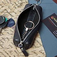 Черная ключница из натуральной итальянской кожи на молнии