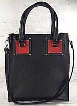 331-2 Натуральная кожа,Сумка женская, черная комбинированная, фото 3