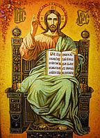 """"""" Спаситель """" Икона из крошки янтаря."""