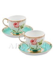 """Чайный набор на 2 персоны """"Роза"""" (Milano Rose Pavone) из костяного фарфора"""