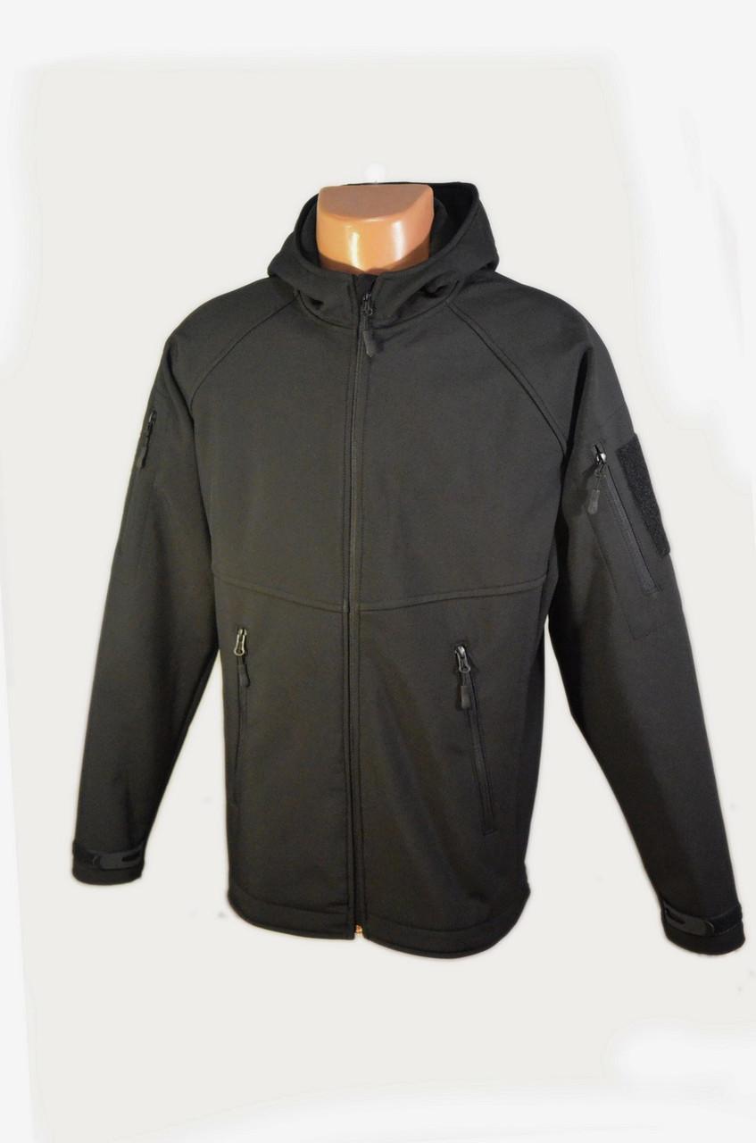 Куртка чёрная с капюшоном из материала Софтшелл (Soft Shell 5000H)