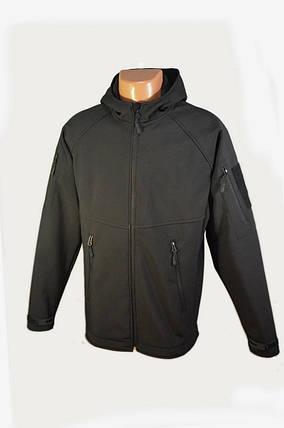 Куртка чёрная с капюшоном из материала Софтшелл (Soft Shell 5000H), фото 2