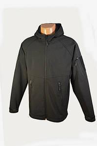Куртка чорна з капюшоном з матеріалу Софтшелл (Soft Shell 5000H)