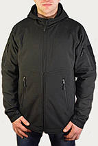 Куртка чёрная с капюшоном из материала Софтшелл (Soft Shell 5000H), фото 3