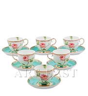 """Чайный набор на 6 персон """"Роза"""" (Milano Rose Pavone) из костяного фарфора 12 пр-в"""