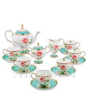 """Чайный сервиз на 6 персон """"Роза"""" (Milano Rose Pavone) из костяного фарфора 15 пр-в"""