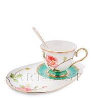 "Чайная пара ""Роза"" (Milano Rose Pavone) из костяного фарфора"