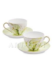 """Чайный набор на 2 персоны """"Калла"""" (Calla Charme Pavone) из костяного фарфора"""