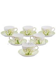 "Чайный набор на 6 персон ""Калла"" (Calla Charme Pavone) из костяного фарфора 12 пр-в"
