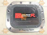 Наклейка крышки бензобака ТЮНИНГ F1 Racing Team (материал алюминевая основа!) (прямоугольная) (пр-во Польша) Габариты: 125х148мм