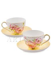 """Чайный набор на 2 персоны """"Пионы"""" (Torino Peony Pavone) из костяного фарфора"""
