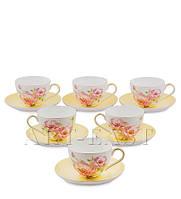 """Чайный набор на 6 персон """"Пионы"""" (Torino Peony Pavone) из костяного фарфора 12 пр-в"""
