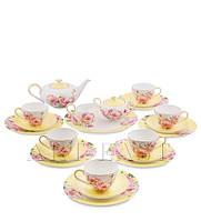 "Чайный сервиз на 6 персон ""Пионы"" (Torino Peony Pavone) из костяного фарфора 22 пр-та"