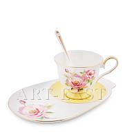 "Чайная пара ""Пионы"" (Torino Peony Pavone) из костяного фарфора"