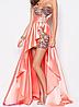 Вечернее платье розовое со шлейфом.